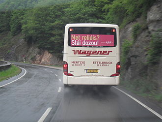 """Religion in Luxembourg - AHA's Atheist Bus Campaign, spring 2011: """"Not religious? Stand up for it!"""""""
