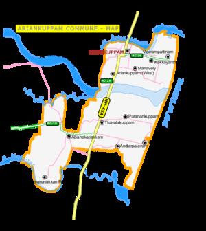 Ariyankuppam - Map of Ariyankuppam Commune