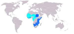 Organisation Africaine de la Propriété Intellectuelle - Current OAPI members in cyan. Blue are ARIPO states.