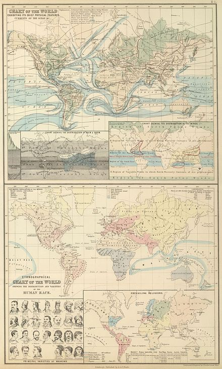 World maps from A & C Black's 1854 General Atlas Of The World A & C Black 1854 Chart of the World.jpg