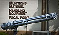 A GAU-12 25 mm Gatling gun static display sits outside the Munitions Materiel Handling Equipment Focal Point building at Eglin Air Force Base, Fla., April 24, 2013 130424-F-OC707-003.jpg