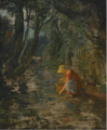 A GIRL COLLECTING BERRIES BY A BROOK IN A WOODED LANDSCAPE.PNG