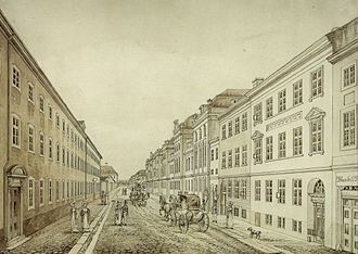 Bredgade - Bredgade at No. 38, looking north, watercolour by Heinrich Gustav Ferdinand Holm