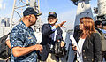A Japanese journalist asks U.S. Navy Capt. Kurush Morris, left, the commanding officer of the guided-missile cruiser USS Shiloh (CG 67), a question during a ship visit in Yokosuka, Japan, Oct. 20, 2014 141020-N-NE138-176.jpg