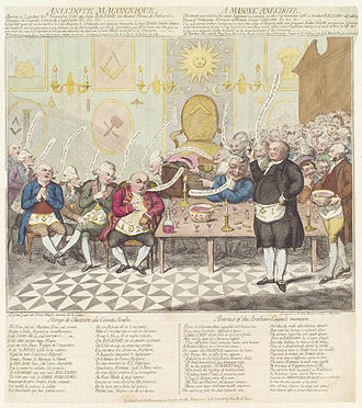 Alessandro Cagliostro - Satire on Cagliostro at a Masonic meeting in London in 1786, by James Gillray