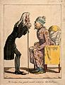 A bored physician looks at the tongue of an old lady; sugges Wellcome V0011669.jpg