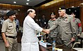 A delegation led by the Director General, Pakistan Rangers, Maj. Gen. Umar Farooq Burki calling on the Union Home Minister, Shri Rajnath Singh, in New Delhi. The Director General, BSF, Shri D.K. Pathak is also seen.jpg