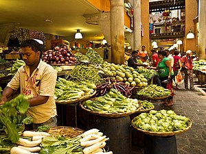 A food market at Port Louis, Mauritius