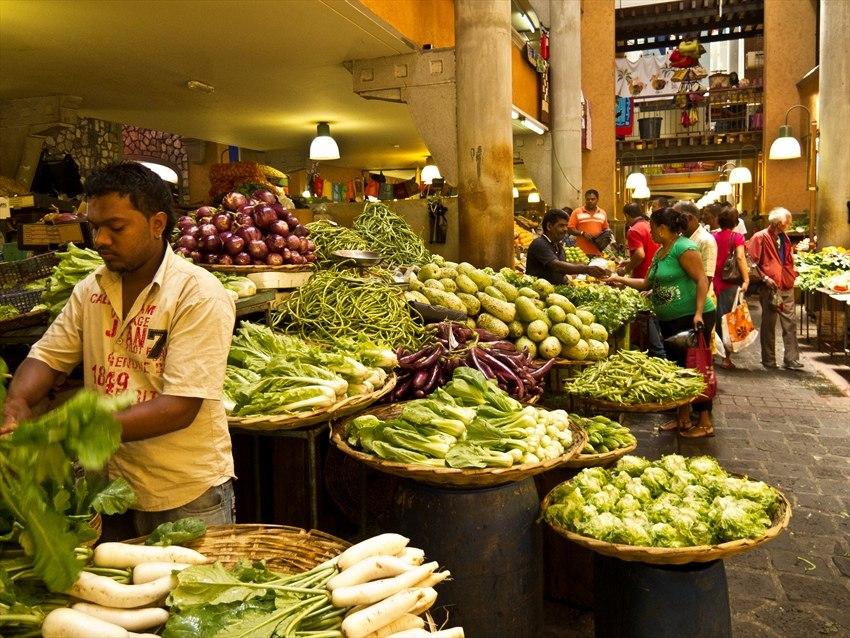 A food market at Port Louis, Mauritius