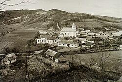 A község látképe, szemben a Nagyboldogasszony-templom. Nógrád Megye, Bárna 1933. - Fortepan 95491.jpg