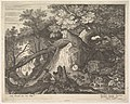 A man holding a staff and seated on a tree trunk; with two goats to either side; surrounded by downed trees, foliage, and a stream; from a series of six landscapes after Roelandt Savery MET DP828129.jpg