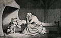 A mother mourns the death of her child. Etching Wellcome V0042280.jpg