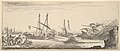 A naval battle, a rowboat full of men to left, a sinking ship to right, two galleys battling in center, other ships battle to left in the background, from 'Various landscapes' (Divers paysages) MET DP827809.jpg