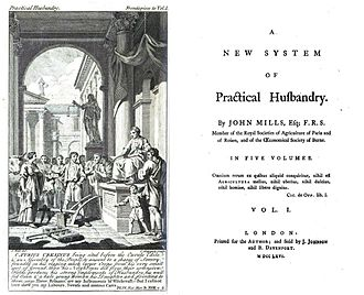John Mills (encyclopedist) - Title page of A new and complete system of practical husbandry by John Mills, 1767