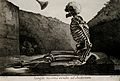 A skeleton, seated on his grave, awakes to the last trump Wellcome V0008801.jpg