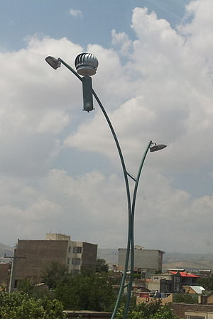 Street light - A wind powered street light in Urmia, Iran