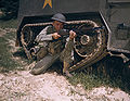 A young soldier of the armored forces holds and sights his Garand rifle like an old timer, Fort Knox, Ky.jpg