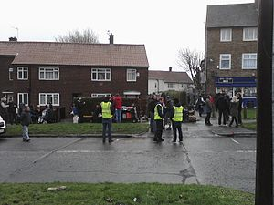 Shameless (UK TV series) - Shooting for Shameless, series 10, episode 2, Wythenshawe, Manchester, England