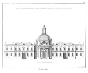 Pentemont Abbey - The unsuccessful proposal by François II Franque for the rebuilt Pentemont Abbey, as found in the Encyclopédie