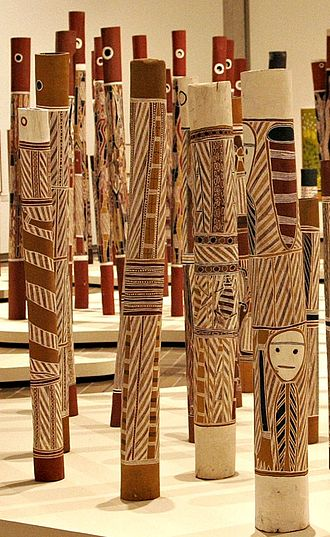 Hollow log coffin - Aboriginal Memorial, a collection of hollow log coffins at the National Gallery of Australia