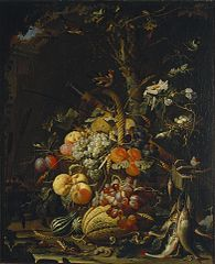 Forest floor still life with fruit, fish and a bird's nest