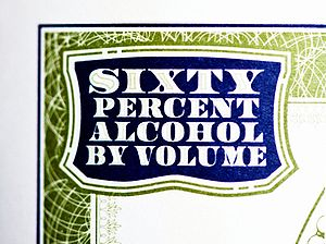 Alcohol by volume - The alcohol by volume shown on a bottle of absinthe.