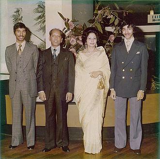 Eenasul Fateh - Eenasul Fateh with family (from left to right; Anatul Fateh, Abul Fateh, Mahfuza Fateh, Eenasul Fateh) in London in 1977