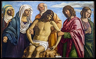 Cima da Conegliano - Nicodemus with Christ's body, the Apostle John on the right and Mary to left.