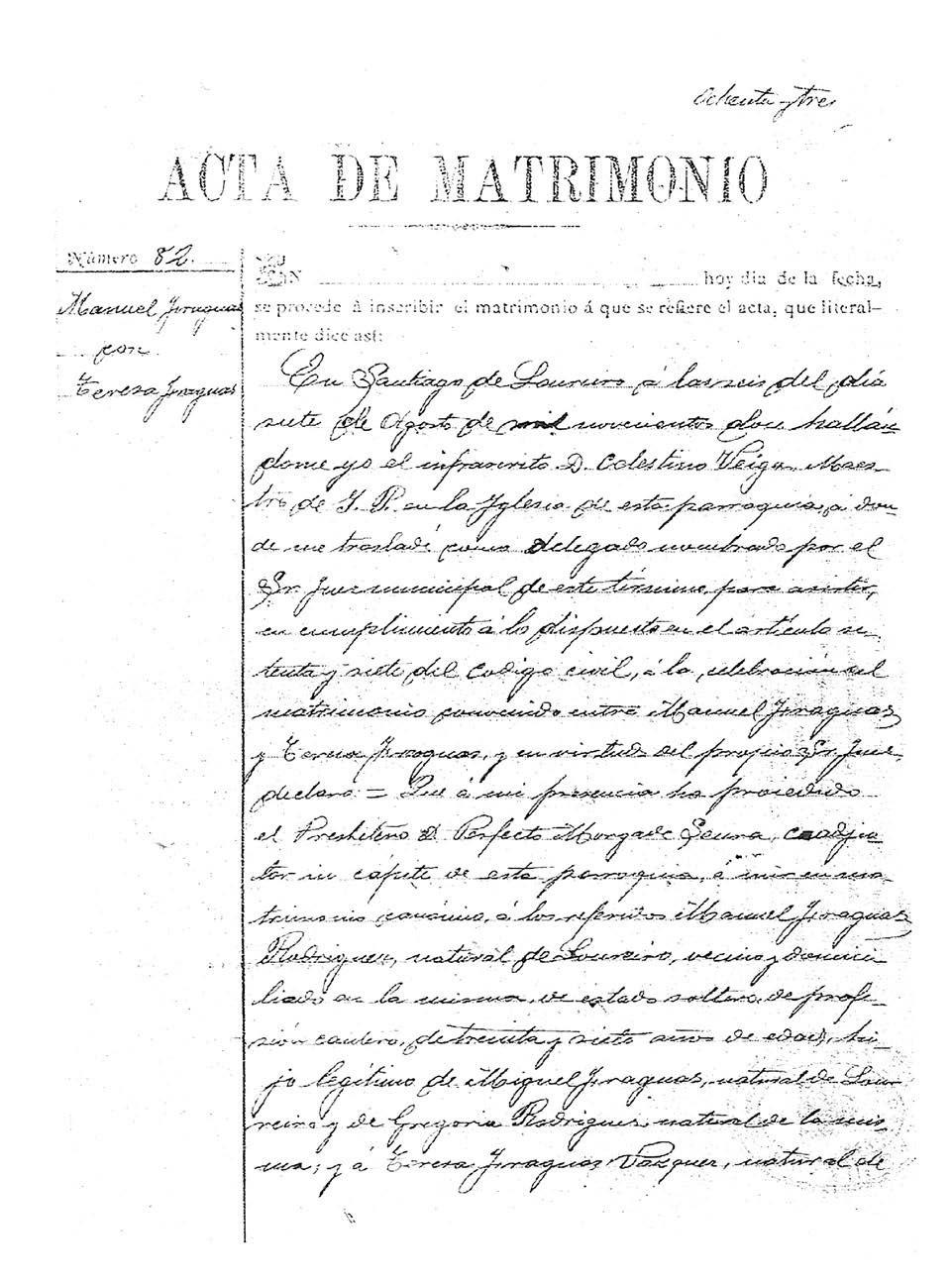 Acta de matrimonio de Manuel e Teresa, pais de Antón, 7/8/1912.