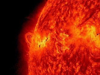 Solar phenomena - Solar activity: NASA's Solar Dynamics Observatory captured this image of the X1.2 class solar flare on May 14, 2013. The image show light with a wavelength of 304 angstroms.