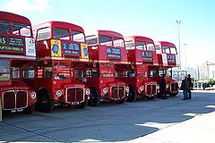 A row of Routemaster buses at Acton Depot.