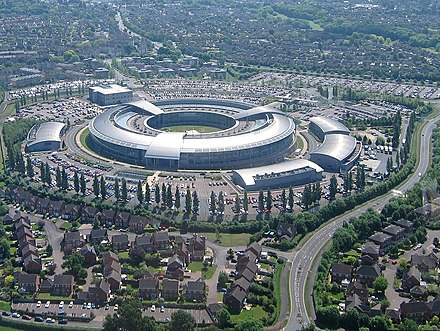 The HQ of UK signals intelligence activities is Government Communications Headquarters, Cheltenham Aerial of GCHQ, Cheltenham, Gloucestershire, England 24May2017 arp.jpg