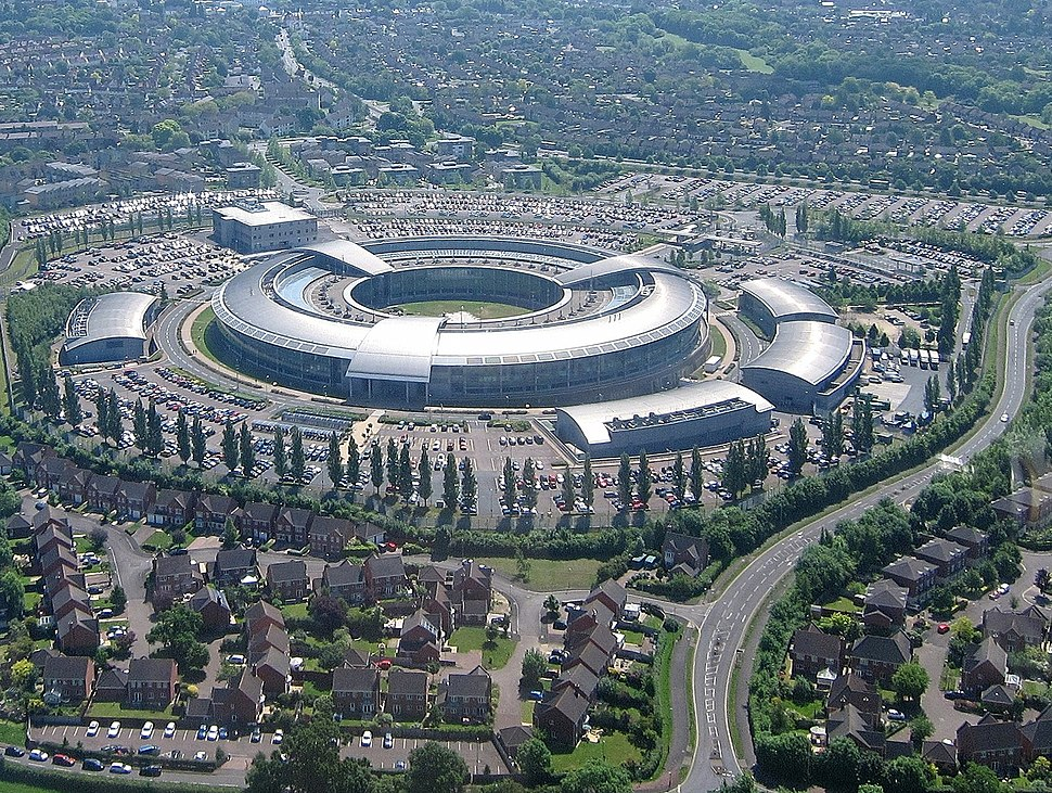 Aerial of GCHQ, Cheltenham, Gloucestershire, England 24May2017 arp