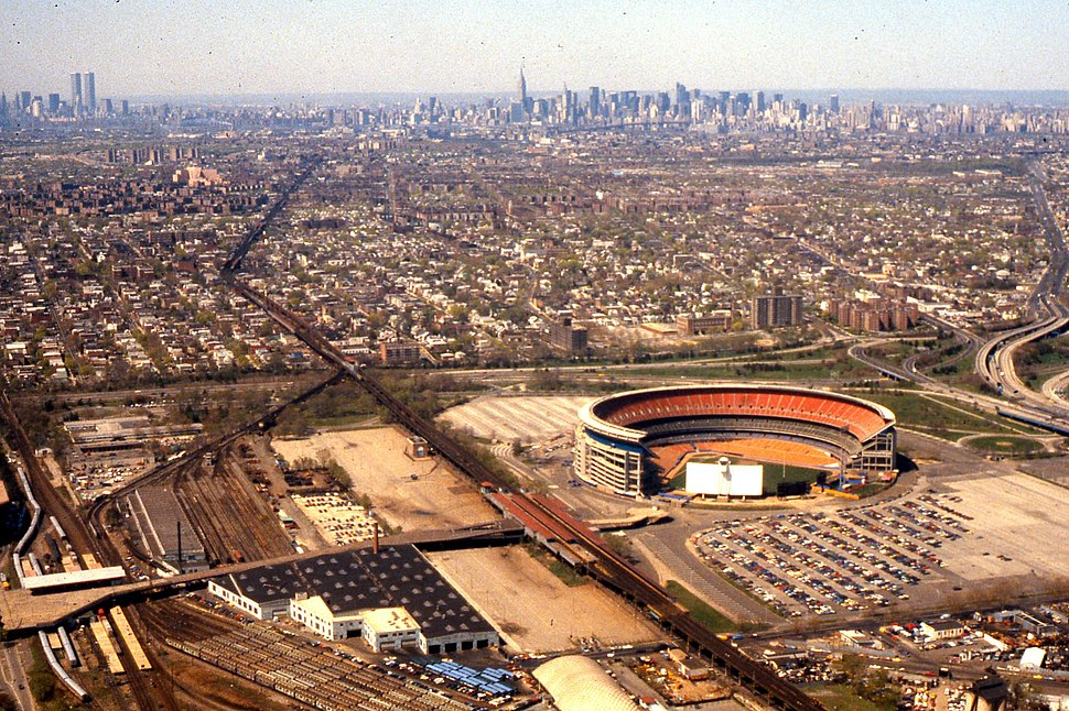 Aerial view Shea Stadium with Manhattan in background 1981