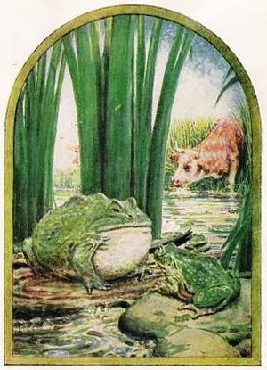 The Frog and the Ox - John Rae's illustration to Fables in Thyme for Little Folks, 1918