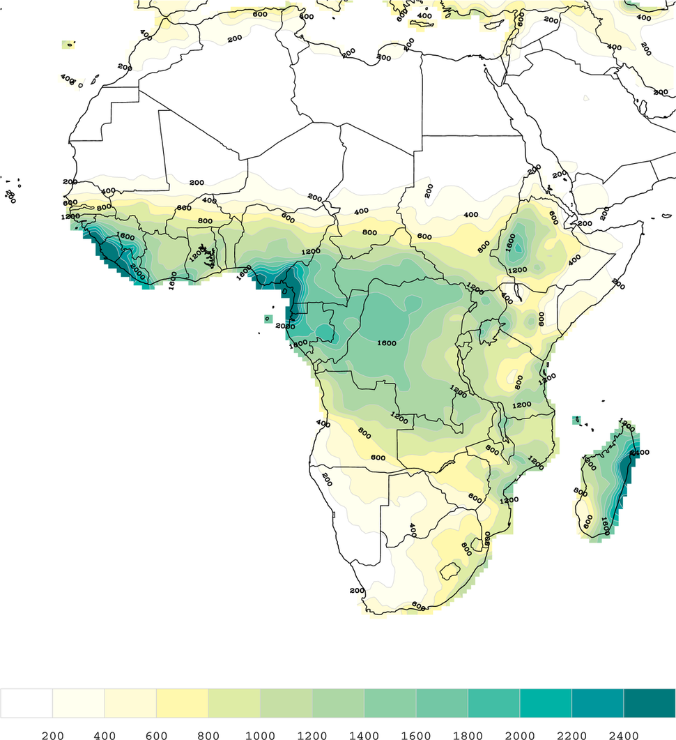 Africa 1971-2000 mean precipitation