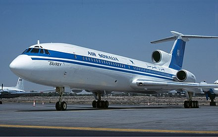 Air Somalia Tupolev Tu-154 in Sharjah, United Arab Emirates. Somalia today has several private airlines Air Somalia Tupolev Tu-154.jpg