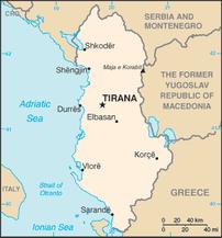 Χάρτης της Αλβανίας