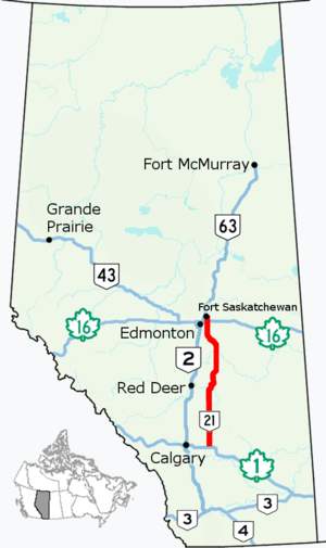 Alberta Highway 21 - Image: Alberta Highway 21 Map