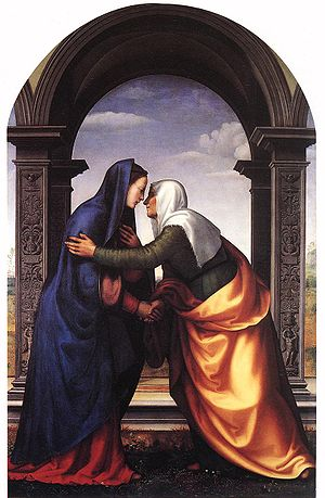 Elizabeth (biblical figure) - Mariotto Albertinelli's imagining of Elizabeth (right), here pictured with Mary
