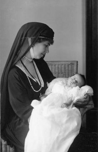 Alexandra of Yugoslavia - Queen Sophia of Greece holding her granddaughter Alexandra, April 1922.