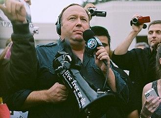 Alex Jones (radio host) - Jones at a protest in Dallas in 2014