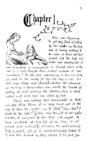 Facsimile page from Alice's Adventures Under Ground