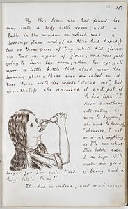 Alice drinks to grow taller - Alice's Adventures Under Ground (1862-1864), f.19 - BL Add MS 46700.jpg