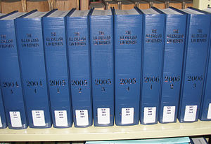 All England Law Reports - Volumes of the All England Law Reports at a law library