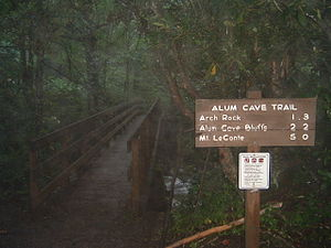Alum Cave Trail - The trailhead of the Alum Cave Trail