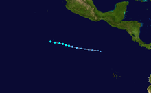 A map depicting the track of Alvin, the first named storm of the 2013 Pacific hurricane season.