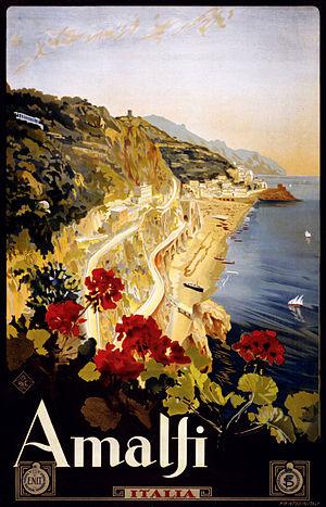Amalfi. Travel poster by Mario Borgoni shows A...