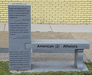 American Atheists - Image: American Atheists bench front