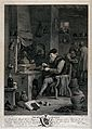 An alchemist using bellows in his furnace. Etching by T. Maj Wellcome V0025537.jpg